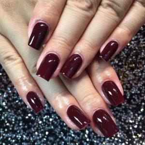 burgundy shellac gel nails