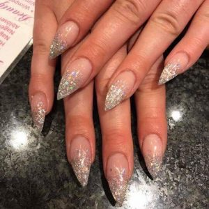 glitter ombre pointed nail design