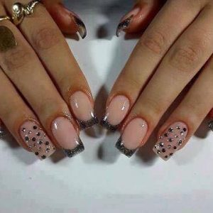 glitter tips with diamonte