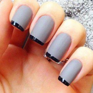 matt nail colour with black tips