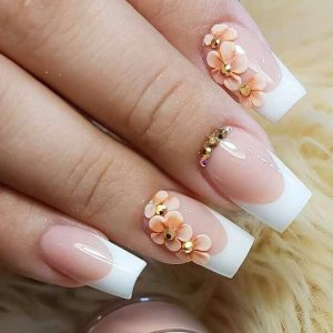permanent white tips with 3D flower design