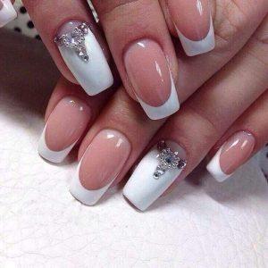 permanent white tips with jewellery stones design