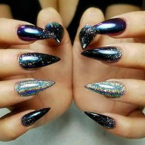 pointed nail extensions with glittering designs