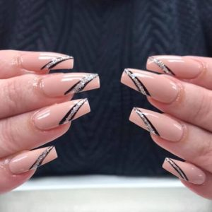 stripy design on long nail extensions