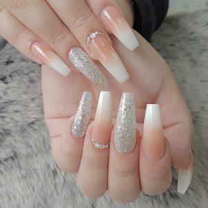 white ombre with glittering design