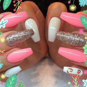 long pale pink with design