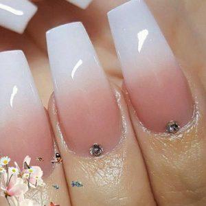 natural white ombre nail design