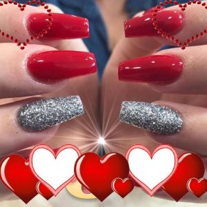 red nail extension with glitter