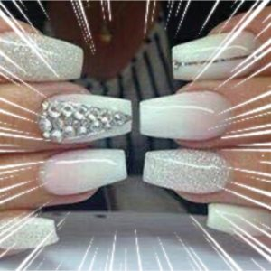 white nail with glitter